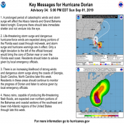 Key Messages for Hurricane Dorian for 5pm 9-1-2019